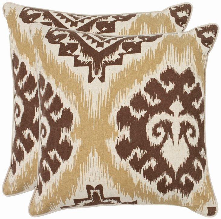 S/2 Ikat Pillows, Brown