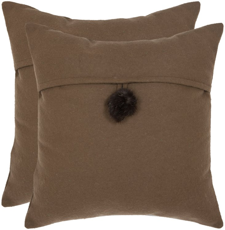 S/2 Francis 18x18 Pillows, Brown