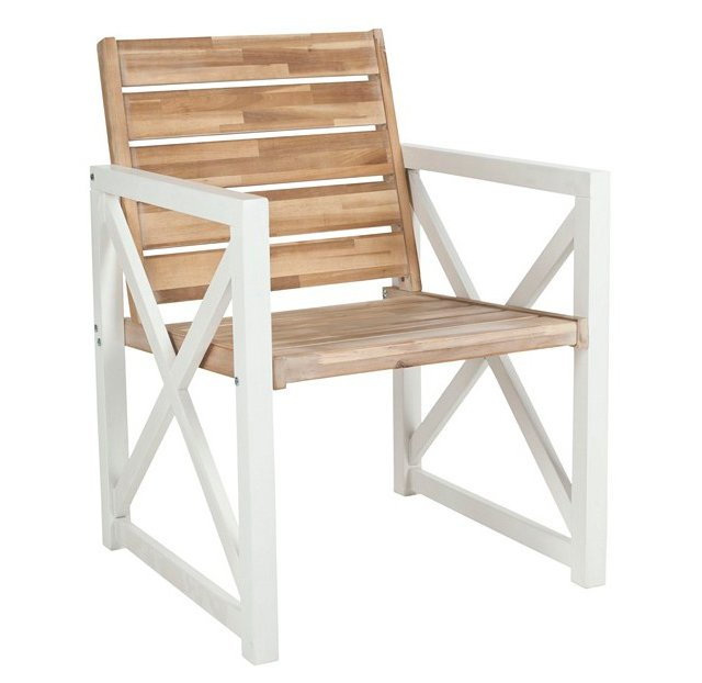 Outdoor Oak Stratford Armchairs, Pair