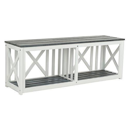 "Outdoor Stratford 51"" Bench, White/Gray"