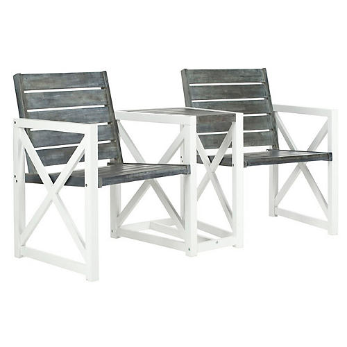 Outdoor Stratford Two-Seat Bench, Gray