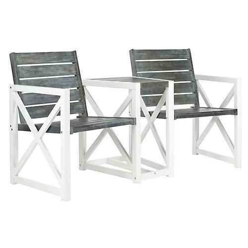 Solem Bench, White/Gray