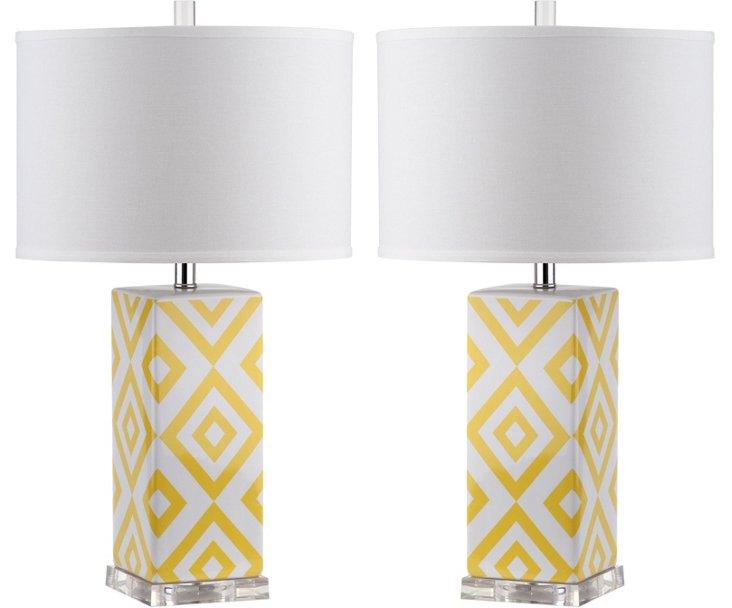 Diamonds Table Lamp Set, Yellow