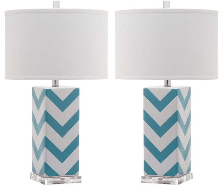 Chevron Table Lamp Set, Teal