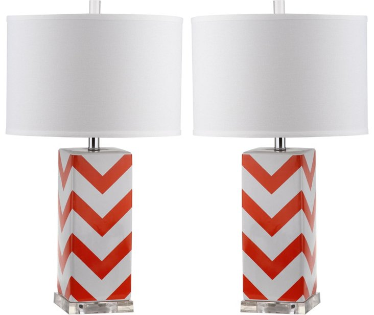 Chevron Table Lamp Set, Red