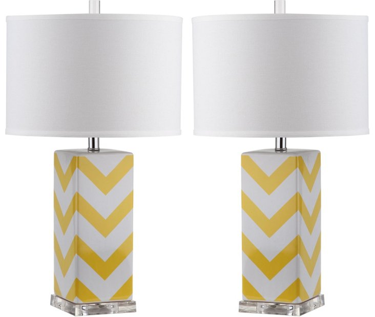 Chevron Table Lamp Set, Yellow
