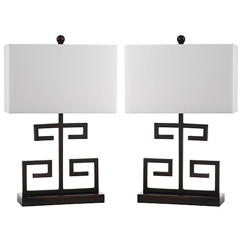 S/2 Greek Key Table Lamps, Black