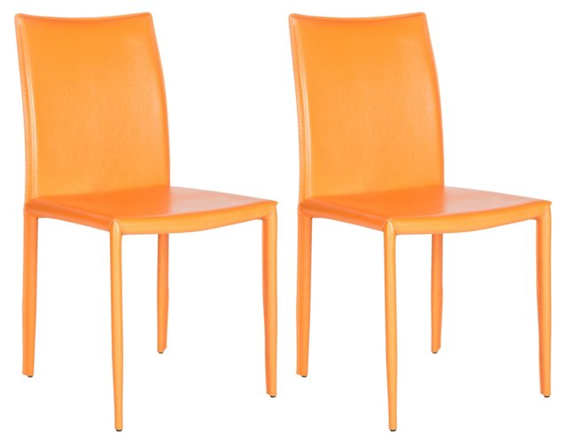 Orange Leather Caldwell Chairs, Pair