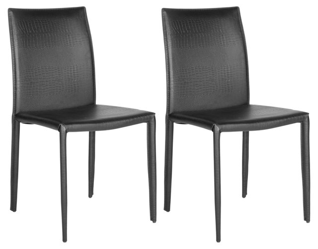 Black Leather Croc Caldwell Chairs, Pair