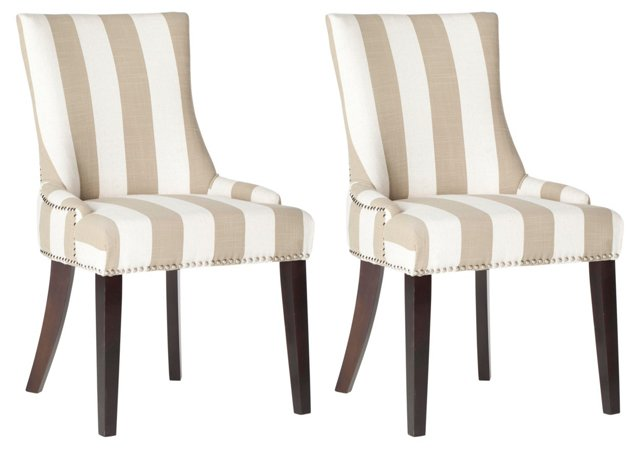 Taupe Lester Dining Chairs, Pair