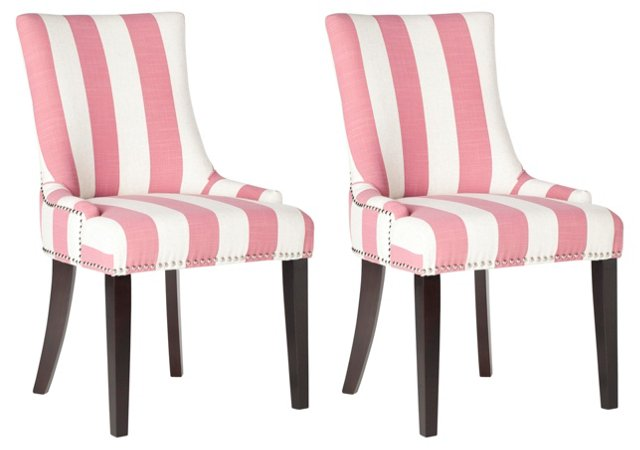 Pink Lester Dining Chairs, Pair