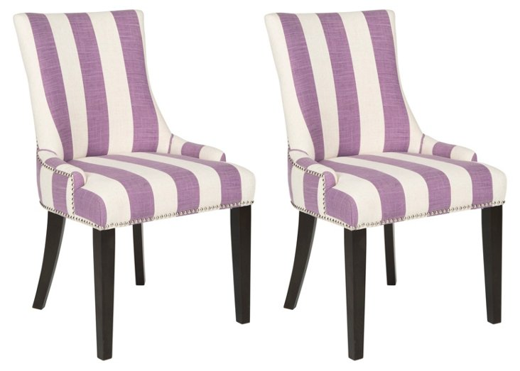 Lavender Lester Dining Chairs, Pair