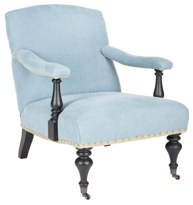 Becket Library Armchair, Light Blue/Tan