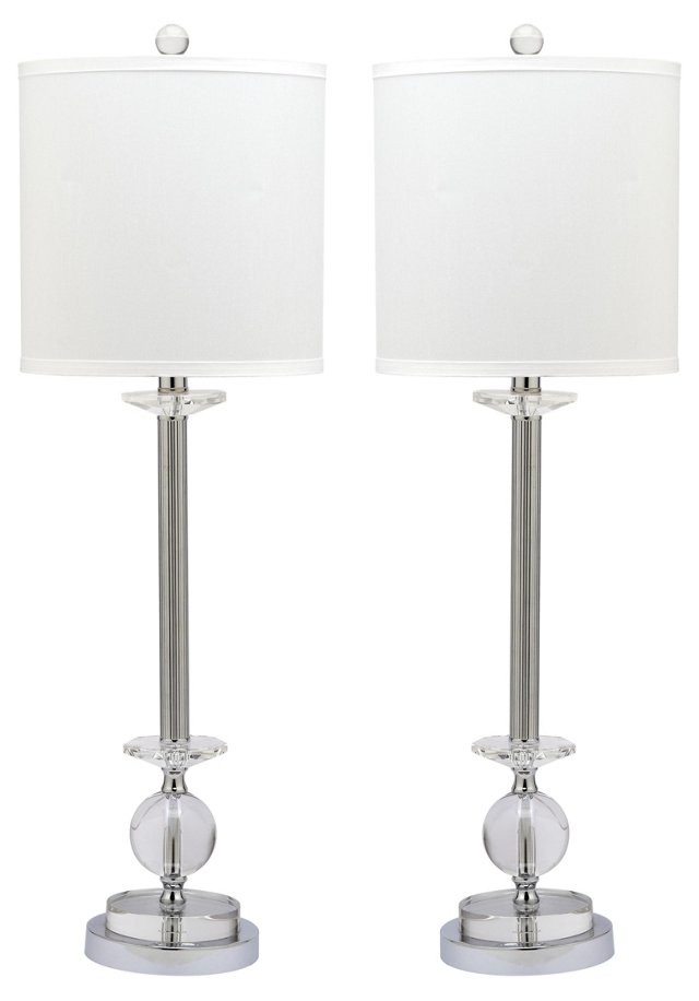 Marla Candlestick Lamp Set, Chrome