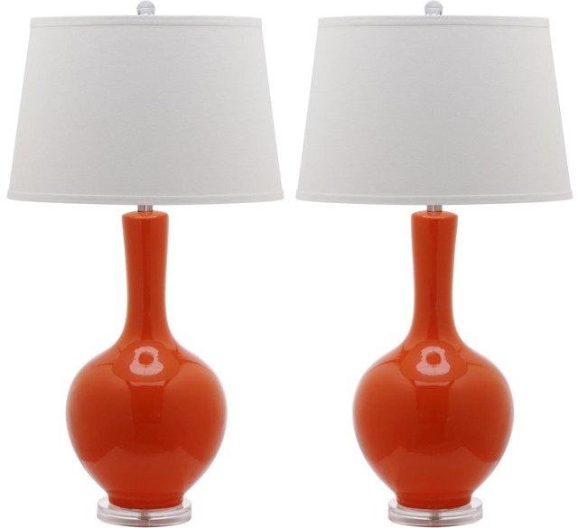 Blanche Table Lamp Set, Orange