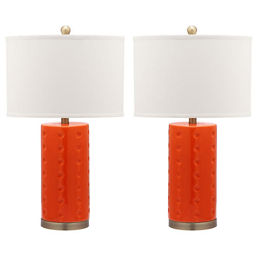 S/2 Roxanne Table Lamps, Orange