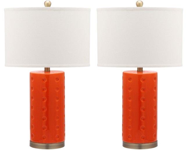 Roxanne Table Lamp Set, Orange