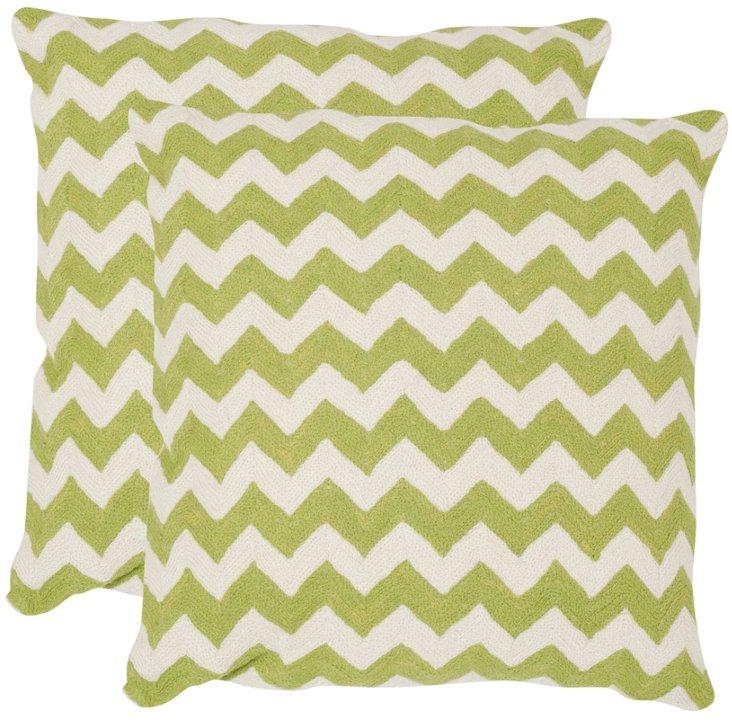 S/2 Tealea Cotton Pillows, Green