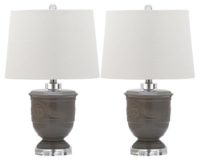 Bacall Table Lamp Set, Gray