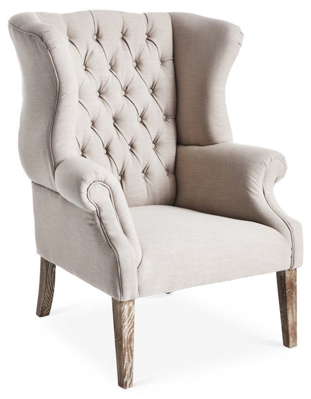 Carrie Wingback Chair, Beige