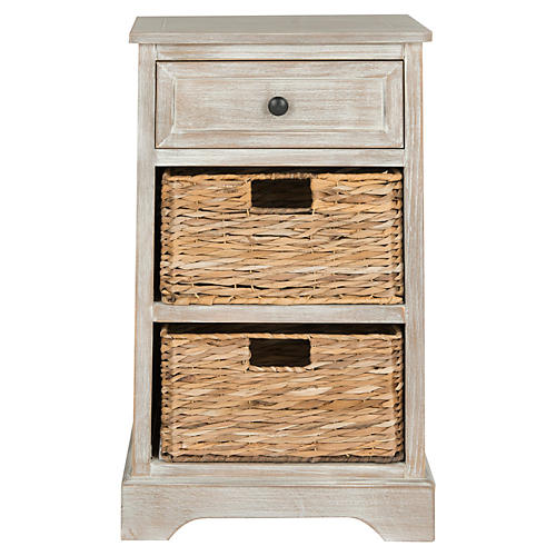 Thais Storage Nightstand, White