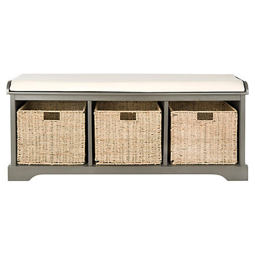 Ada 3-Basket Storage Bench, Gray