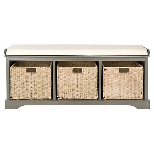 Ada 3-Basket Storage Bench, Gray