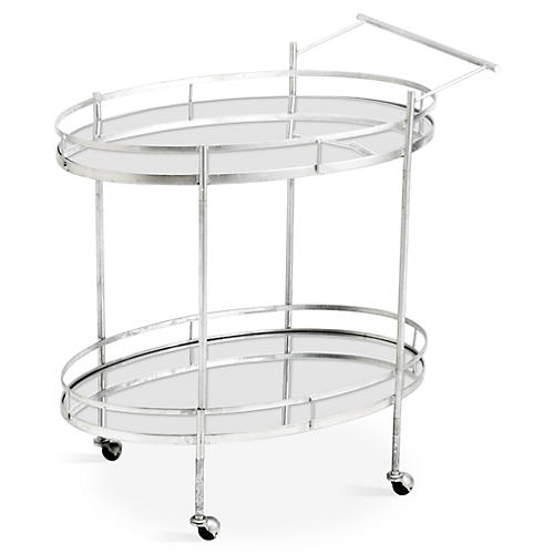 Remy Bar Cart, Glass/Silver