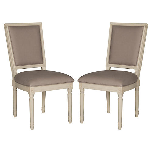 S/2 Lucy Side Chairs, Taupe Linen