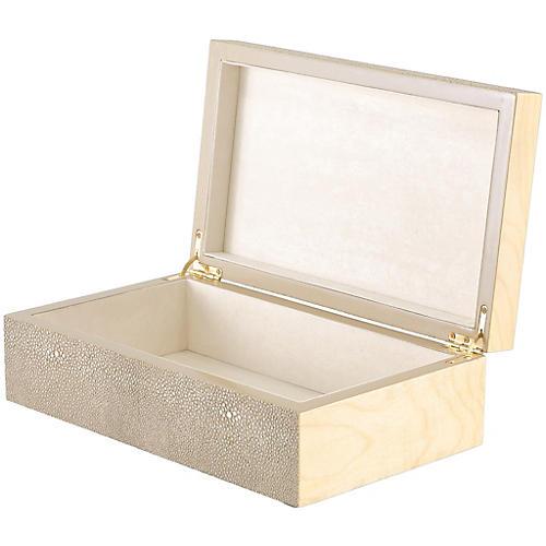 Nova Shagreen-Style Box, Cream