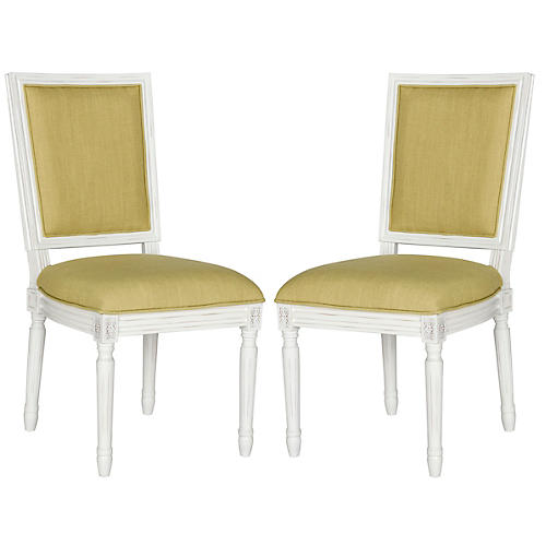 Chartreuse Linen Side Chairs, Pair
