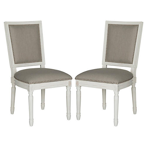 Light-Gray Linen Side Chairs, Pair