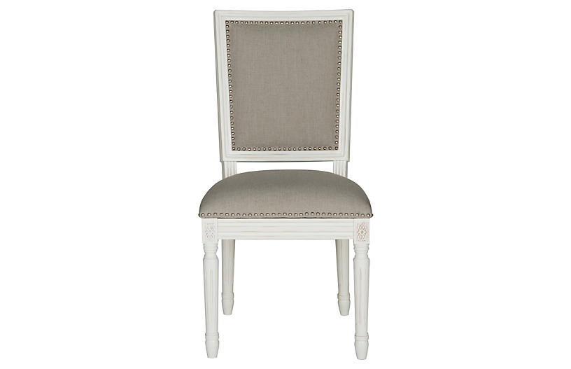 Light Gray Linen Dining Chairs: Light-Gray Linen Side Chairs, Pair