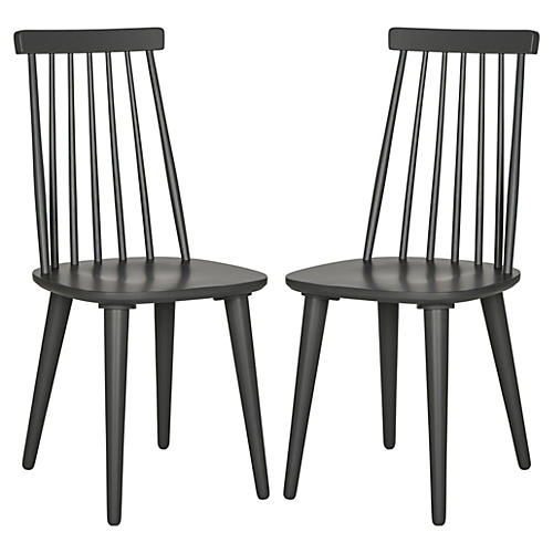 S/2 Flynn Side Chairs, Charcoal