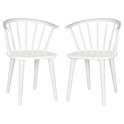 White Norman Side Chairs, Pair