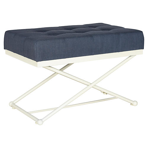 """Elise 33"""" Campaign Linen Bench, Navy"""