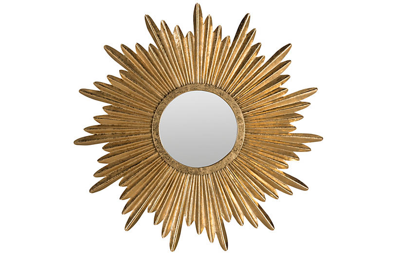 Sunburst Mirror, Antiqued Gold