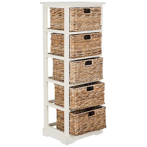 Everly 5-Basket Storage Unit, White