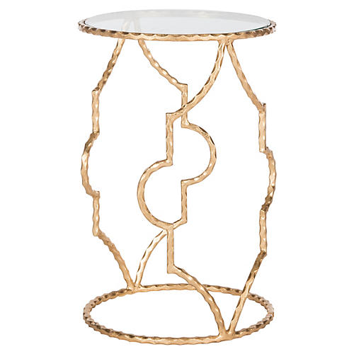 Evie Side Table, Gold/Glass