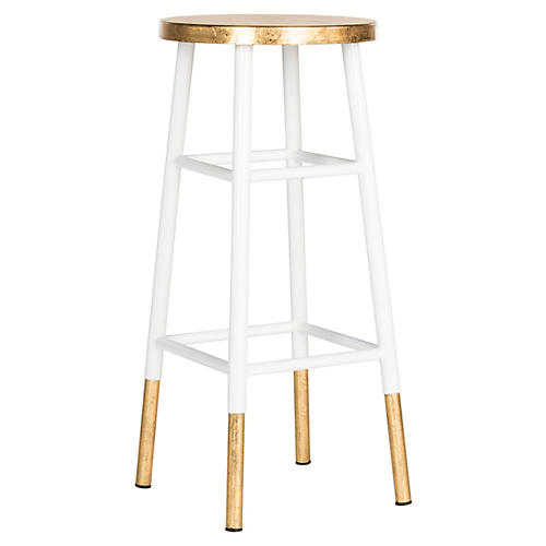 Lacie Barstool, White/Gold