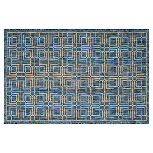 Barna Outdoor Rug, Navy/Gray