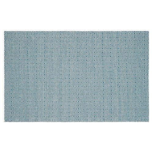 Dusan Flat-Weave Rug, Blue/Ivory