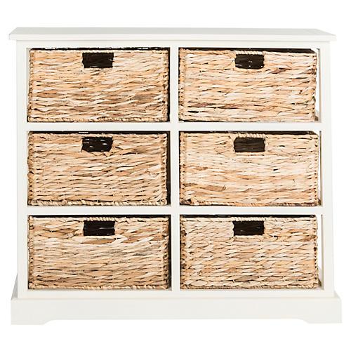 Kera 6-Basket Storage Shelf, Off-White
