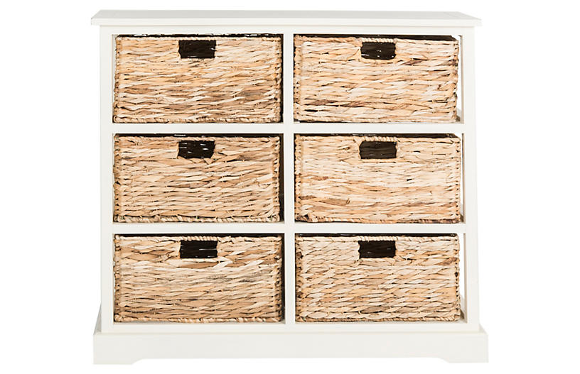 Kera 6-Basket Storage Shelf - Off-White