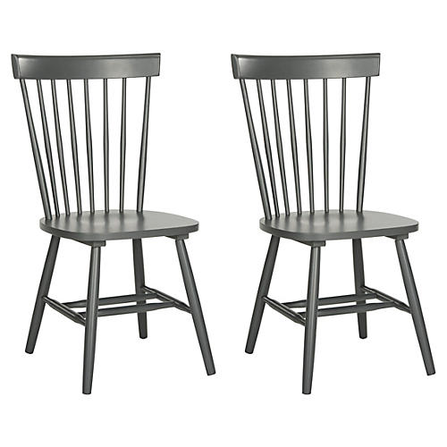S/2 Abigail Side Chairs, Charcoal