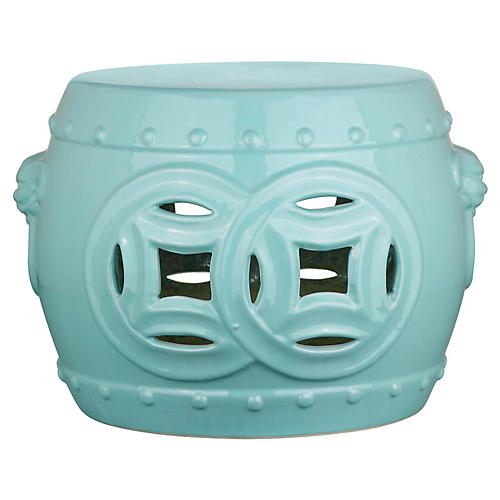 Isamu Double Coin Garden Stool, Teal