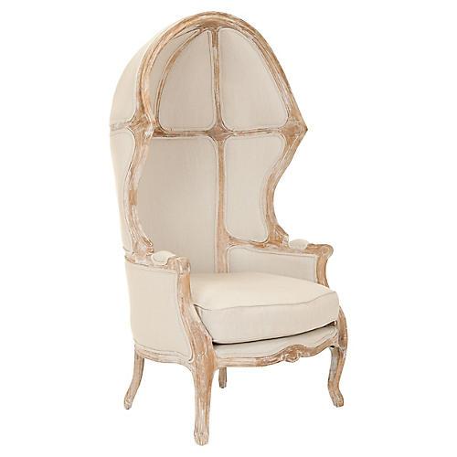 Sabine Linen Canopy Chair, Natural Linen
