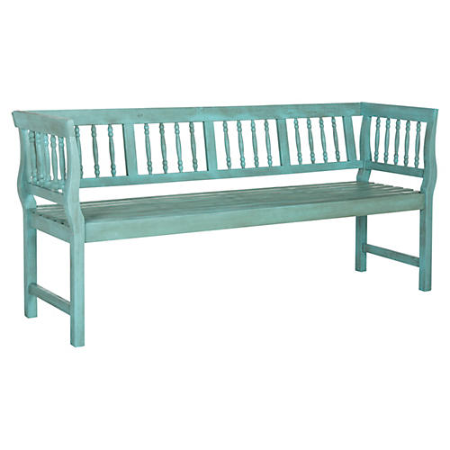 Nola Outdoor Bench, Distressed Teal