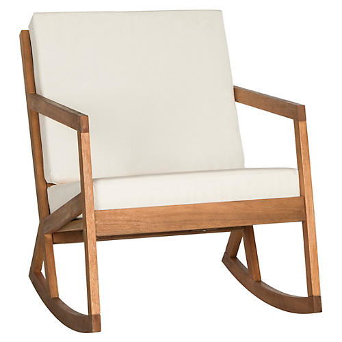 Lindsey Rocking Chair, White/Natural