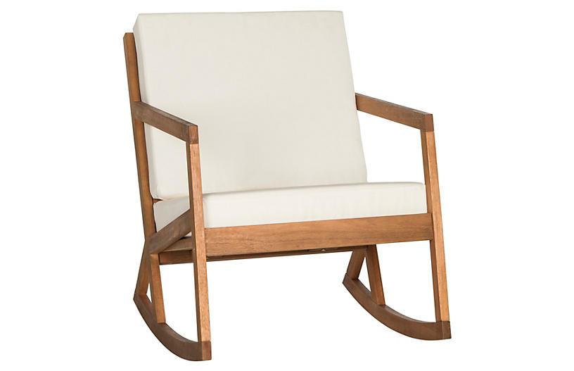 Lindsey Rocking Chair, White/Natural